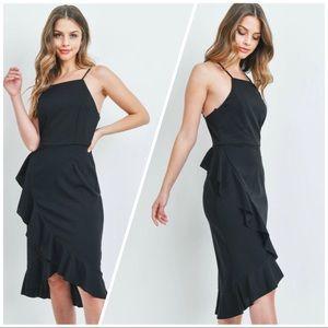 Side Ruffle faux wrap dress